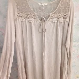 Beige Boho Lace Peasant Top Andree M